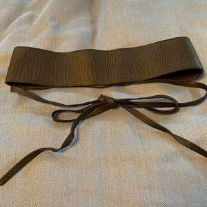 Eileen Fisher black leather obi/kimono style belt